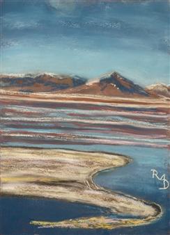 Raul Mariaca Dalence - Laguna Colorada Pastel on Canvas, Paintings
