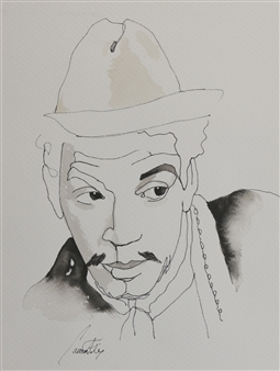 Carmen Félix - Cantinflas Watercolor & Ink on Paper, Paintings