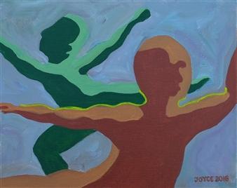 Martin Randall Joyce - Two Dancers Acrylic on Canvas Panel, Paintings