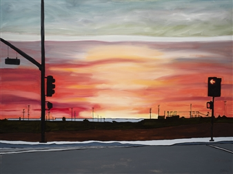 Clare Holzer - Baseline Sunset Oil on Canvas, Paintings