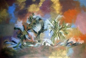 Maribel Matthews - Trees in the Mist Oil on Canvas, Paintings