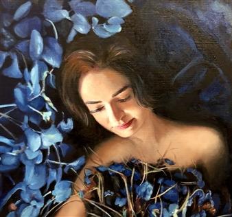 Mehrnosh Kaecker - Shades of Blue! Oil on Paper, Paintings