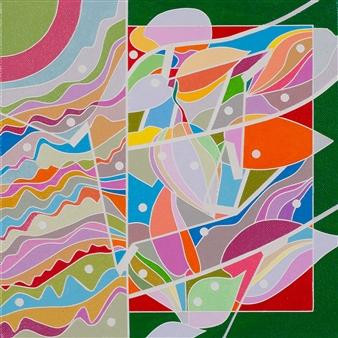 Ai-Wen Wu Kratz - Color Logic II / Green Acrylic on Canvas, Paintings