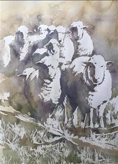 Pauli Zmolek - Nine Sheep Watercolor on Paper, Paintings