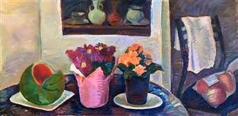 Hana Vater - Still Life with Watermelon Oil on Canvas, Paintings