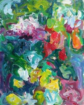 Susan Marx - Joyous Garden Acrylic on Canvas, Paintings