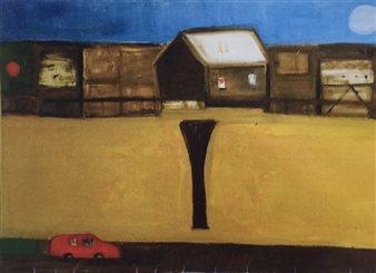 Ana Ingham - A Farm in Cornwall Oil & collage on Wood, Mixed Media