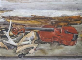 Yuriy Danich - Violin 2 Watercolor on Paper, Paintings
