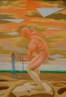 Di Stefano - Pensieri (Thoughts) Oil on Wood, Paintings