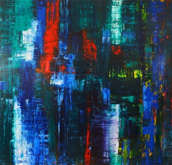 Catherine Timotei - Red/Blue/Yellow on Green Oil on Canvas, Paintings
