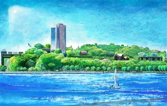 Michael Victor ▪ MVR - Stevens I.T. Riverfront Bluff Landscape_ Composite Pastel River of Pxels Hard Pastels with Multi-media, Prints