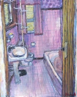 Jenny Ahmad - Pink Bathroom with Yellow Louvre-door Oil on Canvas, Paintings
