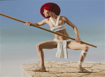 Anton Hoeger - Stickfighter Oil on Panel, Paintings