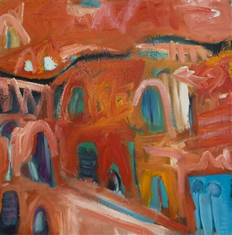 Jayne Rolinson - A Landscape of Orange Acrylic & Oil on Canvas, Paintings