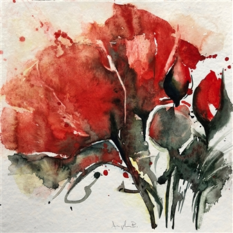 Angela Blattner - Poppy Flowers 1 Watercolor on Paper, Paintings