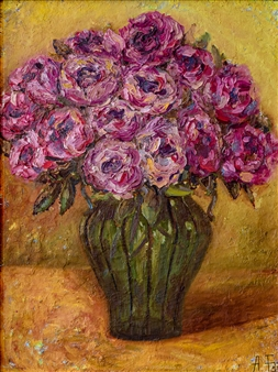 Aigerim Bektayeva - Peonies Oil on Canvas, Paintings