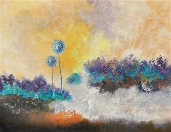 Joe Koury - Saharian Oasis Acrylic on Canvas, Paintings