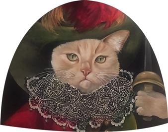 Rosana Largo Rodríguez - Aristocat Oil on Canvas of Wood, Bell Shape, Paintings