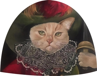 Rosana Largo Rodríguez - Aristocat Oil on Canvas of Wood, Bell Shape, Paintings