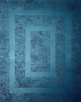 Natalia Gaviria - Blue Mirror Glass Beads & Spray Paint on Canvas, Mixed Media