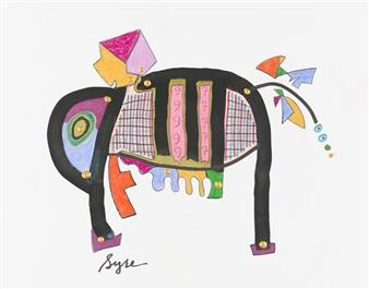 David Syre - COVID-19...Elephant Mixed Media on Paper, Mixed Media