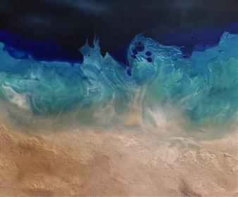 Michael Ocepek - Whispery Blue Beach Acrylic & Oil on Canvas, Paintings