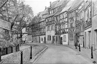 Atsushi Imai - Town Scape of Colmar #2 Pencil on Paper, Drawings