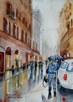 Tammy Phillips - Rainy Day In Rome 1 Watercolor on Paper, Paintings