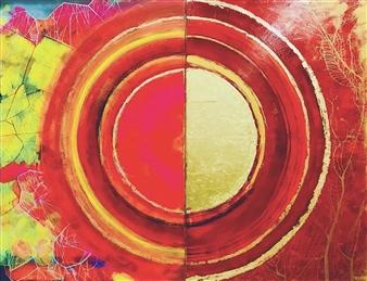 Grażyna Aneta Ochowiak - Star Pulse, diptych Acrylic & Mixed Media on Canvas, Mixed Media