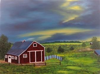 Hezekiah Baker Jr. - Wisconsin Storm Acrylic & Oil on Canvas, Paintings