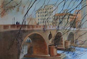 Tammy Phillips - Meet At The Bridge Watercolor on Paper, Paintings