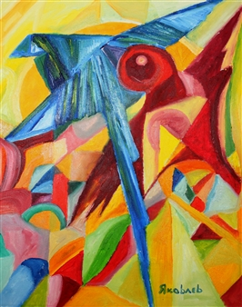 Sergey Iakovlev (Яковлев) - Blue Bird Oil on Canvas, Paintings