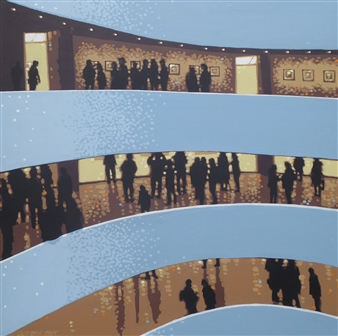 Gordon Hunt - Guggenheim Visit Acrylic on Canvas, Paintings