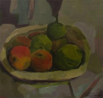 Jutta Ebeling-Dehnhard - Interpretation, according Mathilda Vollmoeller-Purrmann. Still Life with Fruits, 1907 Acrylic on Carton Board, Paintings