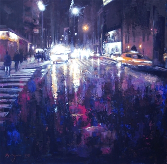 Emanuele Biagioni - Notturno Metropolitano Acrylic on Canvas, Paintings