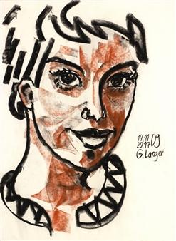Gunter Langer - Hanna Charcoal on Paper, Drawings