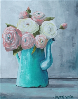 Elizabeth Sabine - Flowers in Pitcher Acrylic on Canvas, Paintings