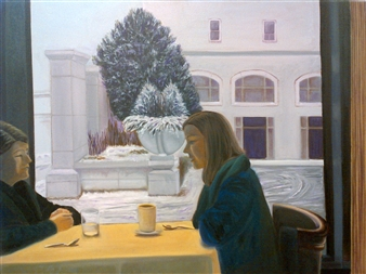 Grace Dam - The Conversation Oil on Canvas, Paintings