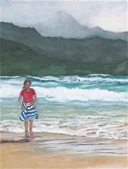 Nancy Holleran - Girl on Hanalei Bay Watercolor on Paper, Paintings