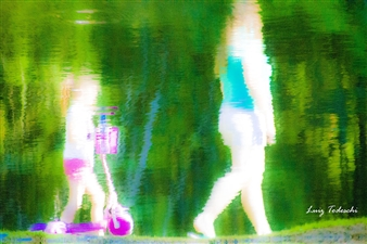 Luiz Todeschi - Mother and Daughter Strolling in the Park Archival Pigment Print on Hahnemühle Paper, Photography