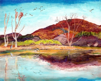Michael Victor ▪ MVR - Nativescape Autumn Wetland Alive in Peak Pastel Color Hard Pastels with Multi-media, Prints