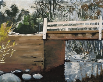 Clare Holzer - Bridge at Seven Oaks Oil on Canvas, Paintings