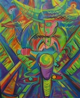 Miguel de la Cruz - Niños a Motora Oil on Canvas, Paintings