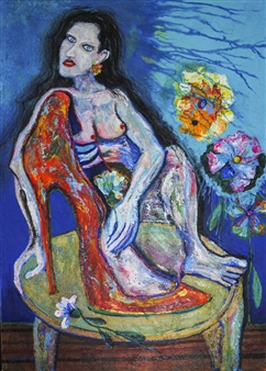 Hector Anchundia - Diva Acrylic on Canvas, Paintings