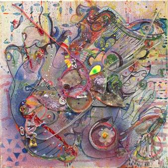 Denel-KK (Kristen Keeling) - Happy Cow Mixed Media on Canvas, Mixed Media