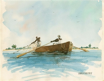 Ashraf Elsharif - Fishermen Watercolor on Paper, Paintings