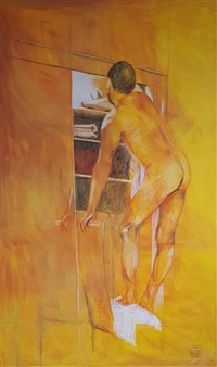 Anna Weichert - The Man in the Closet 3 Oil & Pastel on Canvas, Paintings