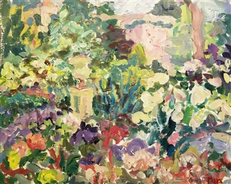 Susan Marx - Montclair Garden Late Afternoon Acrylic on Masonite, Paintings
