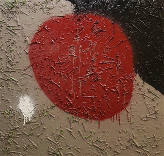 Joseph Masur - Industrious Man's Red Moon Acrylic & Spraypaint on Canvas, Paintings