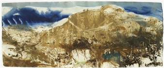 Frances Hatch - Meall a' Bhuachaille (Herdsman's Hill) via Ryvoan Bothy and An Lochan Uaine (The Green Lochan). Glenmore, Cairngorm. November Acrylic & Mixed Media on Archival Paper, Mixed Media